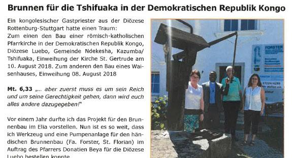 Brunnen für die Demokratische Republik KONGO